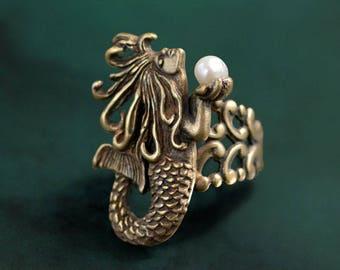Mermaid Ring, Mermaid Jewelry, Mermaid Sculpture, Silver Ring, Beach Ring, Boho Ring, Silver Mermaid Ring, Vintage Mermaid Jewelry R554