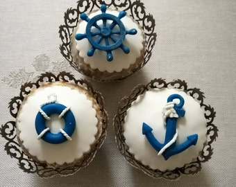 Set of 4 Nautical Edible Fondant Cakes cupcakes cookies cakepops toppers and decoration