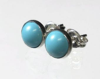 Small Turquoise Stud Earrings Small Turquoise Earrings Turquoise Post Earrings Genuine Turquoise Earrings Sterling Silver