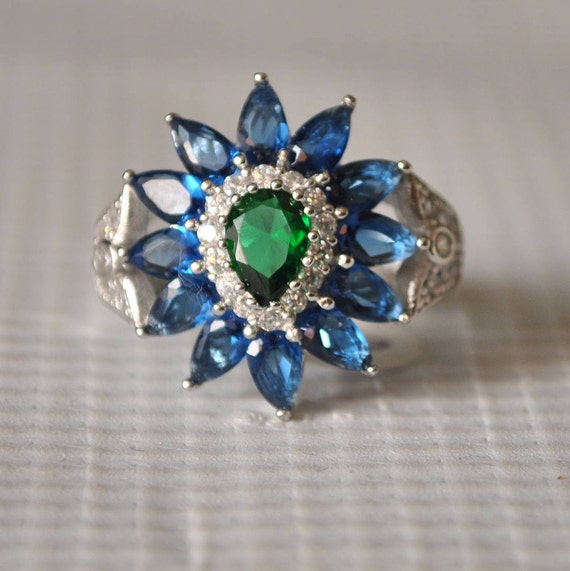 Sterling Silver Emerald Sapphire Ring Sz 7  #9855