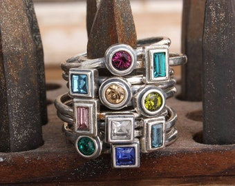 Mother's Birthstone Rings, Silver Stacking Rings, Family Ring, Personalized Sterling Silver Rings with Birthstones. Custom Jewelry for Mom.