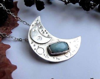 Delicate moon necklace, Half moon necklace, small half moon necklace, delicate crescent moon, blue necklae, larimar, short delicate necklace