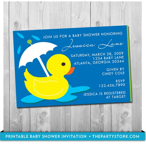 Rubber Duck Baby Shower Invitation, Printable Rubber Ducky Invite, YOU  PRINT, Many More Invites Available For Boy Or Girl