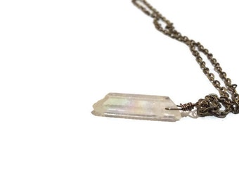 White ab aurora Borealis iridescent crystal nugget necklace bronze tone