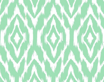 Ikat Fabric by the Yard - Mint and White