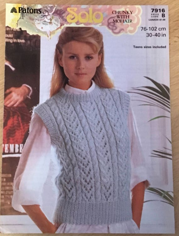 Ladies Cable Jumper Knitting Pattern Patons Knitting Pattern