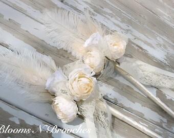 Flower girl wand, Flower girl wands, flower basket alternative, flower wand, wedding wand, feather wands