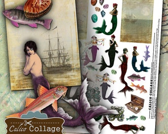 Mermaids Digital Collage Sheet Altered Art Printable Vintage Marmaids Mixed Media Decoupage Paper Calico Collage Graphics Paper Dolls