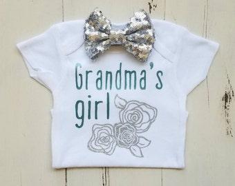 Grandma's girl, Baby girl clothes, Grandma onesie, Baby girl outfit, Onesie, Baby girl, Baby clothes, Baby, Baby girl onesie, Onesies