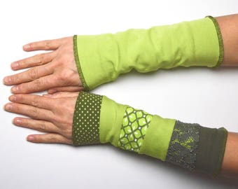 Mittens spring Arm Warmers Wrist Warmers double sided cotton flowered green