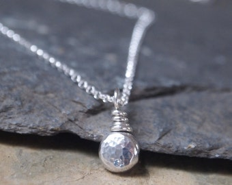 sterling silver layering necklace , dainty silver pebble pendant, chain options available, handmade by arcjewellery uk