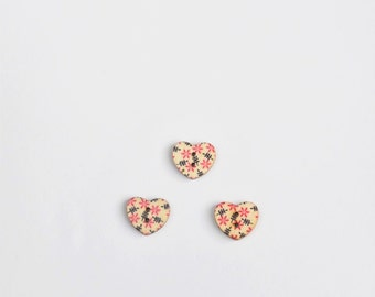 Pink Flower Button - Half Inch Button - Flat Back Button - Pink Heart Button - Wooden Buttons - Valentines Day Floral Button - 15 mm Button