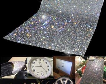 Crystal AB Mesh Rhinestone Panel - Glass Rhinestone Sheets Iron On Price Per 1 Sheet Stone Size SS6/2MM
