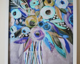 Blue Bouquet / Flowers Painting / 40x50cm / Poster Print / Art Print / Acrylic Painting /Illustration