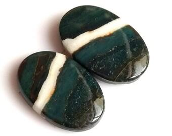 Bloodstone Jasper Oval Cabochon, Natural Blood Stone Designer Cabochon Pair, 24x15 MM, Blood Jasper Gemstone, 32 Cts.