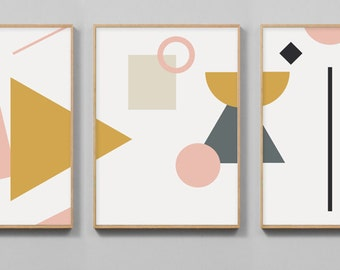 Modern Art Print Set, Printable Art Set Of 3 Prints, digital downloads of prints, Scandinavian art, minimal abstract shapes, geometric art