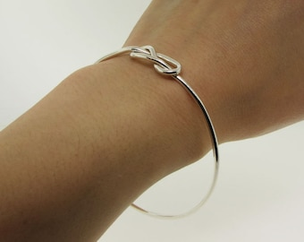 Sterling Silver Infinity Bracelet - Stacking Silver Bangle - Celtic Knot Sister Bracelet - Best Friend Bracelet - Dainty Bracelet