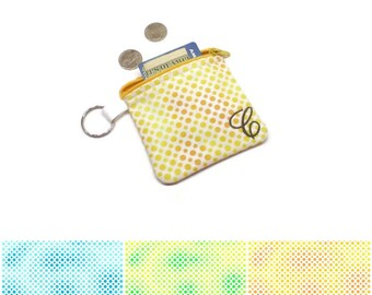 Personalized coin purse, monogrammed pouch, change purse, zippered pouch, fun dots in aqua, lime or yellow.