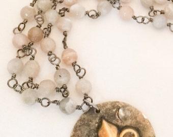 Fleur de lis Necklace - Brass Fleur de lis Pendant - Fleur de lis Rosary - Brown Rosary - Brown Brass Rosary - Brown Rosary Necklace