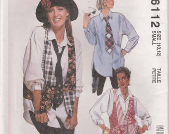 Vest Pattern Tie and Big Shirt Pattern Loose Fitting 1990's Misses Size 10 - 12 Uncut McCalls 6112