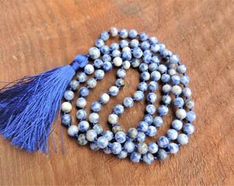 Sodalite Mala, 108 Prayer Beads, Healing Meditation Necklace, Yoga Bracelet, Chakra Necklace, Buddhist Bracelet
