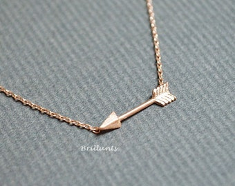 Arrow necklace, Rose gold, Silver, Gold, Bridesmaid jewelry, Everyday necklace, Wedding necklace, Minimal, Simple, Small, Gift,