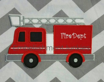 Large firetruck- iron embroidered fabric applique patch embellishment- ready to ship