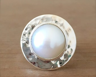 Pearl and Sterling Silver Ring, Pearl and Silver Ring, Pearl Ring, Mermaid Ring, Adjustable Ring, Gypsy Ring, Pearl Jewelry, Round Ring