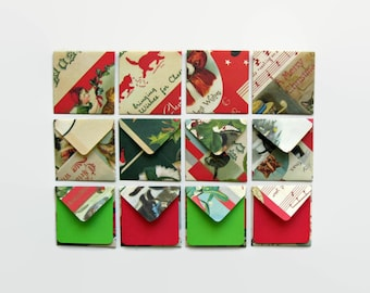 Christmas Cats Mini Stationery Set - Small Square Envelopes, Red Green, Blank Note Cards, Gift Cards, Tags, Cute, Greetings Cards, Under 15