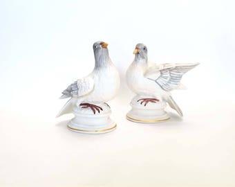 Vintage Enesco Turtle Doves Porcelain Hand Painted Wedding Cake Topper Love Doves
