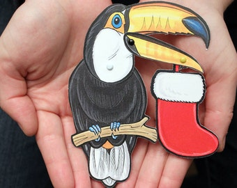 Toucan Jointed Gift Tag or Christmas Ornament, Mini Rainforest Animal Paper Doll