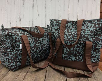 Brown and Turquoise Travel Set