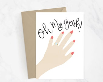 Oh My Gosh! Engagement Card | Wedding Card | Congratulations | Marriage | Hand Illustrated | Hand Lettered | Gift Idea