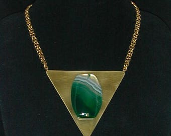 HUGE pendant of a green agate cabochon on raw brass triangle.