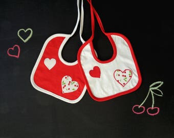 Set of two bibs, red heart applique, coordinated bibs, red white green, gift for twins, gift for baby, love cherry baby shower, girl newborn