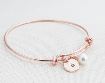 Rose Gold Initial Bangle & Pearl Charm, Initial Bracelet, Pearl Bangle, Rose gold Pearl Bangle