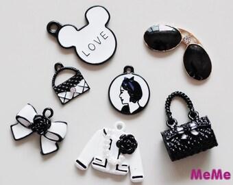 1 Set 7 Pcs Charms Alloy Jacket Bag Ribbon Kawaii Bracelets Pendants Accessories Studs Cabochon Deco Den Phone Case DIY Deco kit PP011
