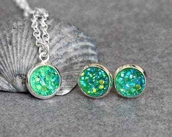 Green Necklace Set, Green Stud Earrings, Green Druzy Earrings, Green Pendant Necklace, Green Post Earrings, Green Earrings 8MM Earrings