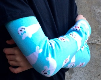 Leg or Arm Warmers for Boys and Girls -Baby Seals in Bowties - Leggings for Baby, Toddler, Big Kid, Tween - Fun Birthday or Baby Shower Gift