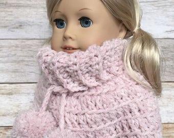 DIY Crochet Pattern – 18 inch Doll Pom Pom Poncho PDF 11 (Fits American Girl Dolls) – Digital Download
