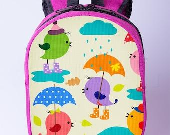 Chicken print backpack Children backpack Small canvas backpack Toddler backpack Pink backpack Mini backpack Girls preschool backpack