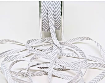 Striped Chevron Twill Ribbon -- 1/4 inch -- Grey White