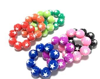 Toddler or Girls Star Chunky bracelets - Super Hero Bracelet - Rainbow Star Bracelets - Pink Star Bracelet - Patriotic Bracelet - Galaxy