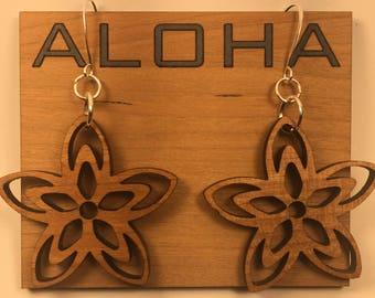 Custom Designed Artisan Made Aloha Hawaiian Floral Star Earrings - Perfect Mother's Day Gift