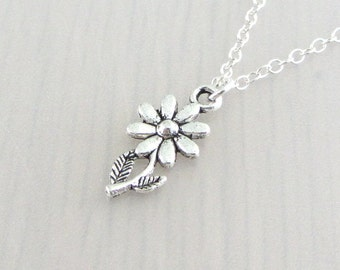 Daisy Flower Charm Necklace, Silver Flower Pendant, Gardeners Gift, Nature Plant Gift, Silver Plated, Stainless Steel, Sterling Silver Chain