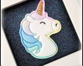 Framed Resin Unicorn or Narwhal In Pastel Rainbow, Handmade, Gifts