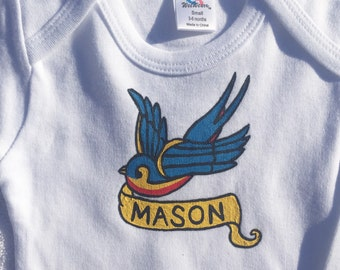 Swallow Bird,Swallow Bird Tattoo,Tattoo Infant Bodysuit Personalized Gift,Baby Shower Gift, Baby Boy or Girl