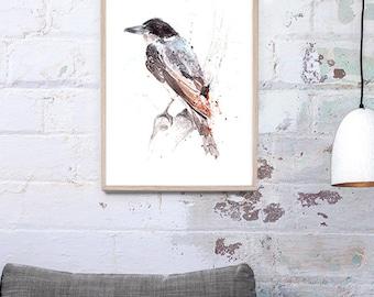 Australian Butcherbird Art Print A3, A2 & A1 Bird Watercolour Illustration giclee art print