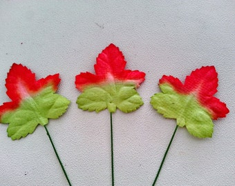 50, 100 pcs.CHRISTMAS leaf mulberry paper flower red-green color 3.5 cm.,christmas decoration,scrapbook,card,craft making,wedding & headband
