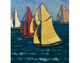 Art Print Taken From The Original Oil Painting 'Les Yacht Classiques I' By Sally Anne Wake Jones
